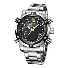 5205 montres de sport bracelet en acier inoxydable quartz imperméable grand cadran horloge hommes montre-bracelet