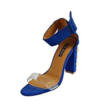 sandale à talon en daim bleu perlés bride transparente