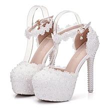 838d337422e532 Chaussures à Talons de mariage en cristal - Queen Dentelle - Blanc