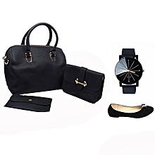 ce220b114445d Pack Sac à Main Femme avec Pochette + Montre Quartz - Noir et 1 ballerines  Noir