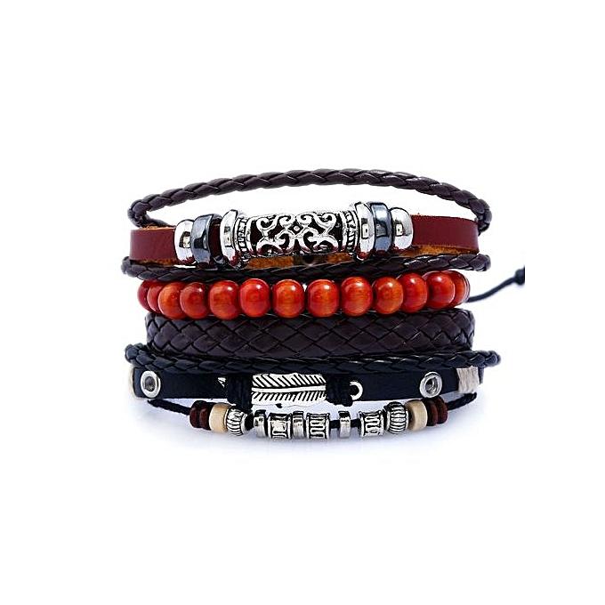Vintage Braided Diy Cowhide Bracelet String Beaded Leather Bracelet