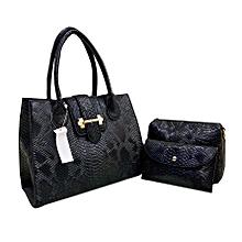 ensemble sac à main femme + 2 pochettes en simili cuir - noir - 3 pièces