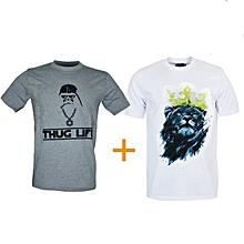 """pack de 2 t-shirts en coton - design """"thug life et couronne"""" - manches courtes - col rond - gris et blanc"""