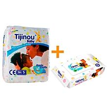 pack mensuel 252 couches - taille 1 - 3/6 kg (7 x 36 couches) + 80 lingettes pour bébé