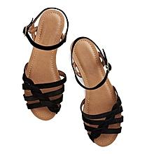 sandales nu-pieds à brides - noir - simili cuir - fabrication locale