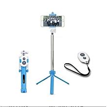 selfie stick bluetooth avec trépied - commande - bleu