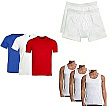 pack de 3 t-shirts - col rond + 3 sous-vêtements + 2 boxers