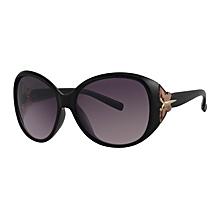 lunettes de soleil - rondes - noires avec papillon doré - acétate - chloé eyewear