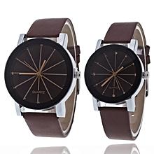 lot de 2 montres quartz - bracelet en simili cuir pour couple - marron