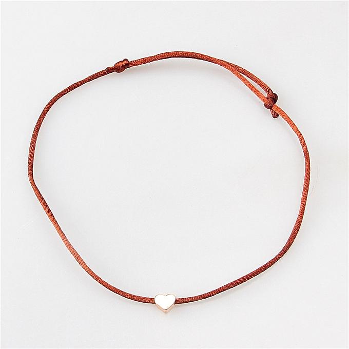 Pour Coulissant Ajustable Femme Cordon 30cm Marron À 18cm Médaille Coeur Doré Taille Noeud 6mm Bracelet 0kw8OnP