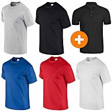 pack 5 t-shirts + 1 polo noir homme en coton - col rond - manches courtes - bleu royal / rouge / blanc / noir / gris