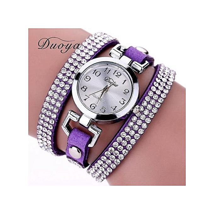Fashion Duoya Femme Violet En Cuir Bracelet Pour Montre eWD9YE2HI