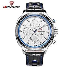 80198 luxe homme montre en cuir véritable sport montres à quartz pour hommes de loisirs horloge simple montre