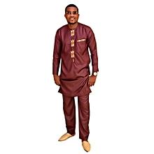 Ensemble costume africain Homme en lin fil à fil rouge bordeaux avec  broderie jaune
