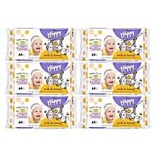 lingettes bella happy lait et miel,  6x64 pcs
