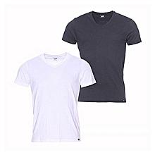 lot de 2 tee-shirts - col v - coton - noir et blanc