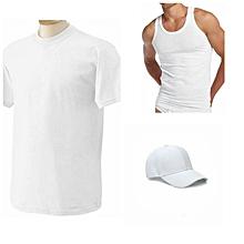 pack  t-shirt col rond manches courtes + casquette + débardeur - blanc
