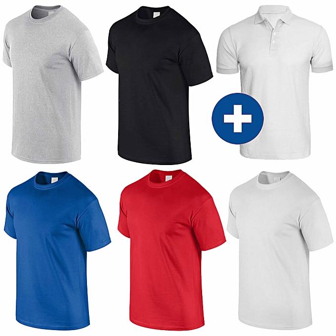White Label Pack 5 T-Shirts + 1 Polo Blanc Homme en Coton - Col Rond ... 7e7dddc98cc