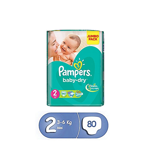 Pampers Pack 1 Mois 80 Couches Pampers Baby Dry Taille 2