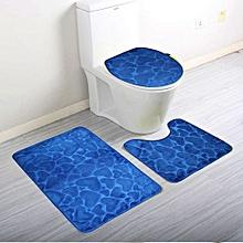 set de 3 pièces salle de bain - toilette + lavabo + baignoire/douche - bleu