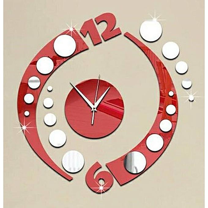 sans marque horloge murale miroir rouge prix pas cher jumia sn. Black Bedroom Furniture Sets. Home Design Ideas