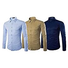 lot de 3 chemises homme longues manches - bleu ciel, bleu de nuit et beige