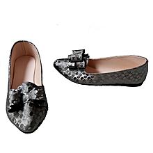 chaussures ballerines pour femme bout pointu avec noeud - gris
