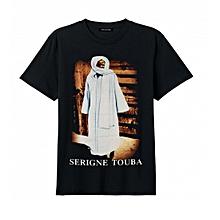 5534a43ebb051 Tee-shirt Imprimé Serigne Touba slim touché doux Col Rond Manches Courtes -  Noir