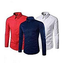 lot de 3 chemises - manches longues - blanc, rouge, bleu marine