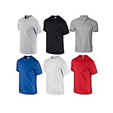pack 5 t-shirts + 1 polo gris homme en coton - col rond - manches courtes - bleu royal / rouge / blanc / noir / gris
