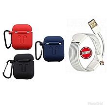 lot de 3 pochettes air pod - bleu noir rouge (cable iphone offert)