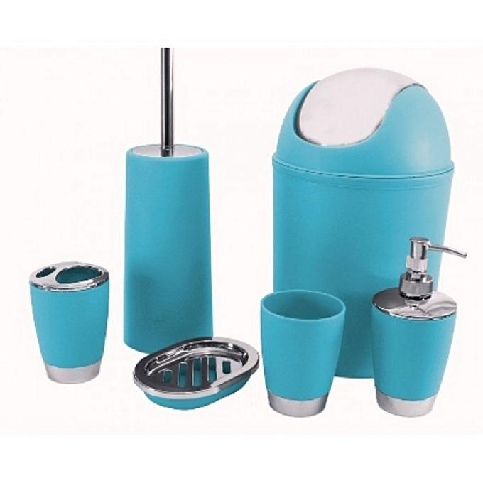 white label set de 6 accessoires de salle de bain bleu. Black Bedroom Furniture Sets. Home Design Ideas