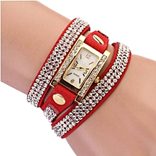 montre - bracelet multi-tours - simili cuir - sertie de strass - rouge
