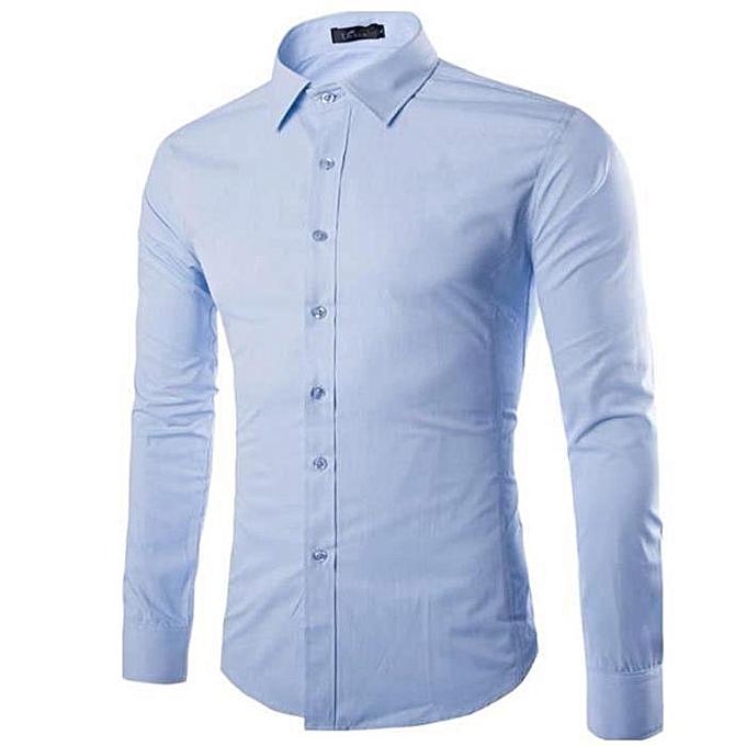 65d8add39c0e9 White Label Chemise Homme Slim Fit - Manche Longues - Bleu Ciel ...