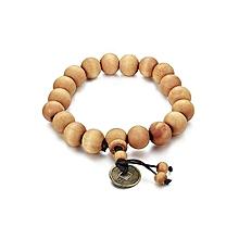 bracelet fashion avec des perles en bois - marron clair