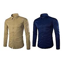 lot de 2 chemises - slim fit - manches longues - beige et bleu de nuit