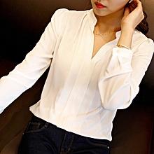 new women's bottoming shirt long-sleeved chiffon shirt slim large size shirt-white