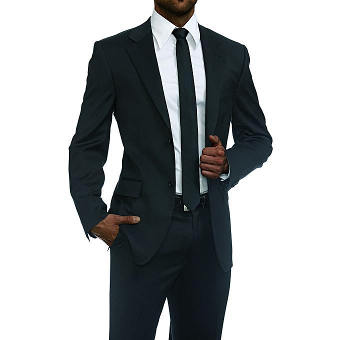 white label ensemble costume homme de deux pi ces coupe pr s du corps noir jumia s n gal. Black Bedroom Furniture Sets. Home Design Ideas