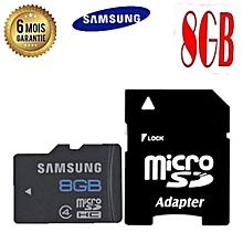 carte mémoire samsung 8go - micro sd avec adaptateur sd - garantie 6 mois