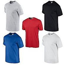 pack 5 t-shirts - 100% coton - noir/blanc/gris clair /bleu et  bonus couleur aléatoire
