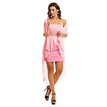 6940d13bcd2 Robe de Soirée Courte - Bustier - Coton et Polyester - Rose