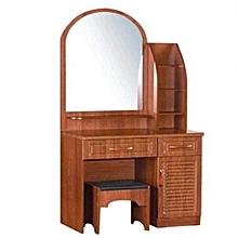coiffeuse en bois - 1 miroir + 2 tiroirs + 1 tabouret