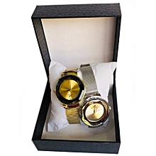 lot de 2 montres plaque femme - doré et argenté