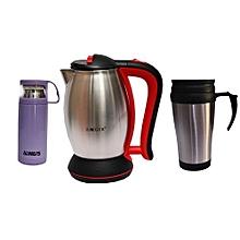 pack: mug isotherme portable - 350 ml + thermos à chaud 24h - 500 ml + bouilloire électrique haeger  - 2200w - 2.5 litres - inox