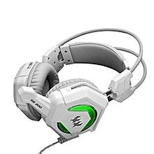 gs200 usb stéréo gaming headphone avec écouteur basse lourde respirant led (blanc gris)
