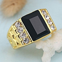 18k gold mens hip-hop black gemstone ring