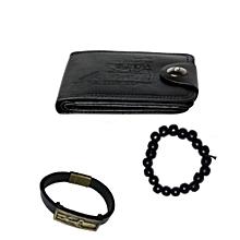pack porte feuille noir +2 bracelets pour homme