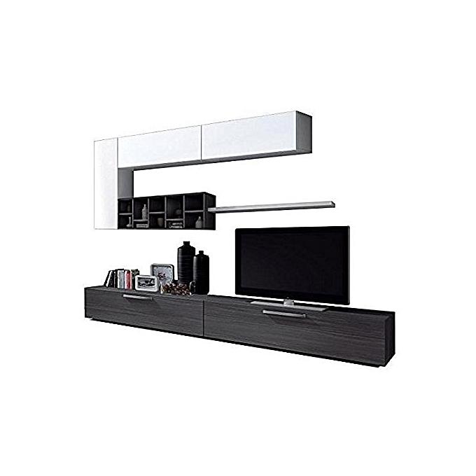 meuble tv contemporain gris cendr et laqu blanc l 260 cm jumia s n gal meubles tv. Black Bedroom Furniture Sets. Home Design Ideas