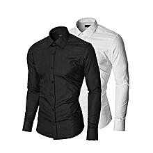 pack de 2 chemises homme slim fit- longues manches - noir et blanc