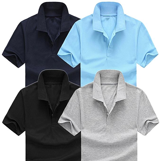 Pack 4 Polos Homme - Coton Polyester - Manches Courtes - Bleu Ciel   Bleu  Marine b284824cbcc